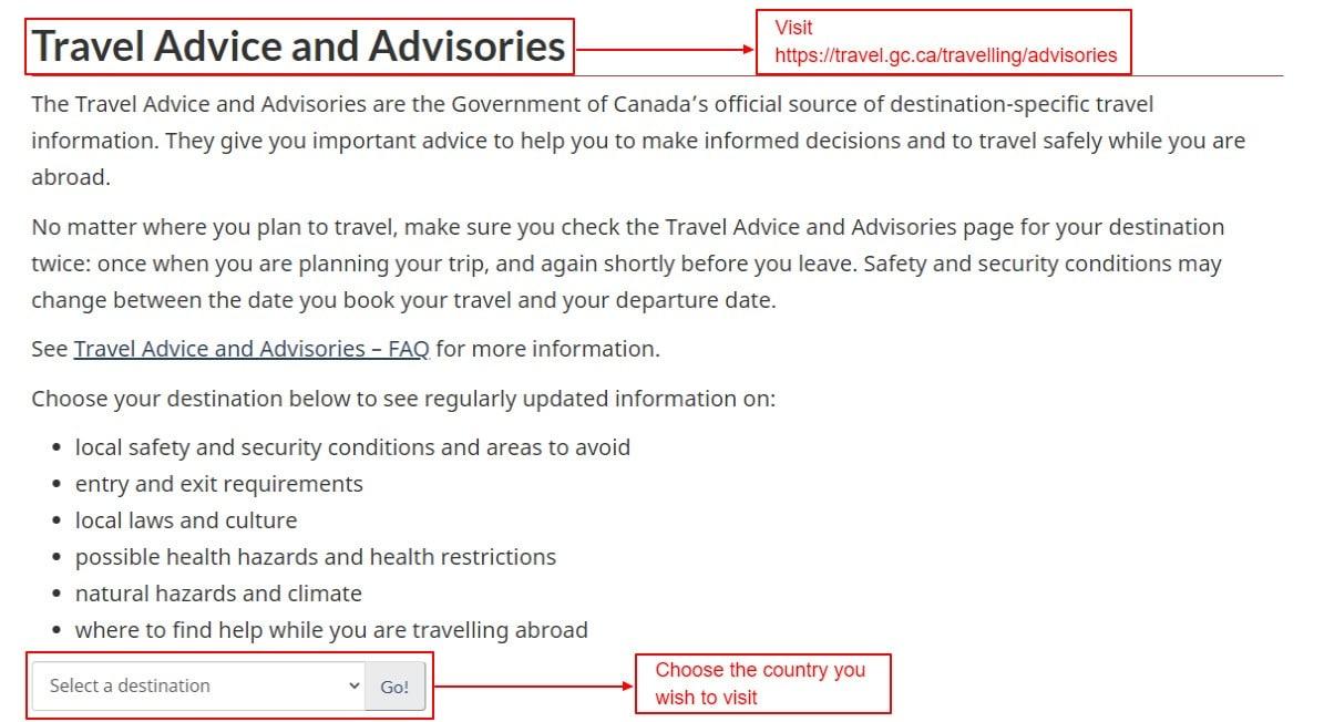 Travel Advice and Advisories